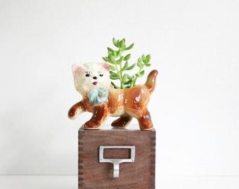 Mid Century Shawnee Kitten Planter / Vintage Ceramic Cat Planter