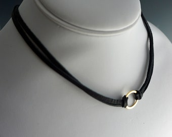 Leather Choker with Gold Ring   Leather Choker Necklace   Gold Ring Necklace