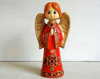 Vintage Christmas Angel | Mid Century Modern Angel Figurine | Red Ardco Angel | Made in Japan