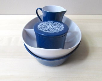 blue and white melmac sugar creamer set divided serving bowl oneida deluxe melamine