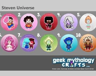 Steven Universe Pixel Art Pins or Magnets