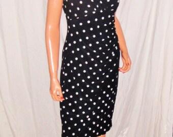 Ralph Lauren Black White Polka Dot Dress S Petite