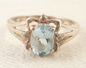 Size 8 Vintage Sterling Blue Topaz and Pink Glass Rhinestone Ring from Avon