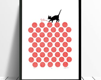 Cat Limited Edition Screen Print (Cherry Red) A3 size
