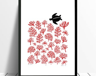 "Fine Art Print ""Sea Turtle"" A3 size (Aurora Red) - FREE Worldwide Shipping"