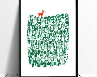 Deer Fine Art Print (Forest Green)