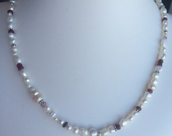 Necklace — Sterling Love Charm, Rubies, Pink Tourmaline, Freshwater Pearls