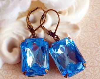 September Birthstone Gift - Sapphire - Art Deco Earrings - READY to Ship - WINDSOR Light Sapphire