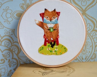 Fireside Fox Embroidery and Applique PDF pattern