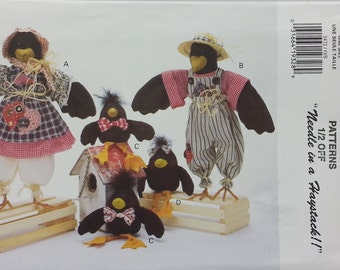 Decorative Fabric Crow Butterick 3472 Something to Crow About Pattern for 4 Decorative Crows 17 inch 6 inch