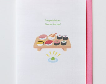 Wasabi Star - Congratulations, Suchi, Greeting Card, Wasabi, Funny, Unique