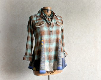 Plaid Hippie Shirt Boho Chic Top Shabby Clothing Fit Flare Style Upcycled Clothes Mori Girl Tunic Eco Friendly Country Cowgirl S/M 'AUBREY'