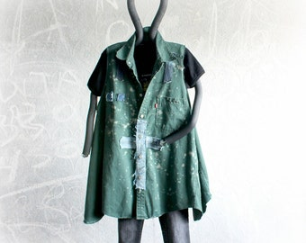 Plus Size Shirt Green Loose Fit Top Grunge Clothing Ripped Frayed Tattered Clothes Recycled Jeans Cross Design Goth Women's 1X 2X 'PHOEBE'