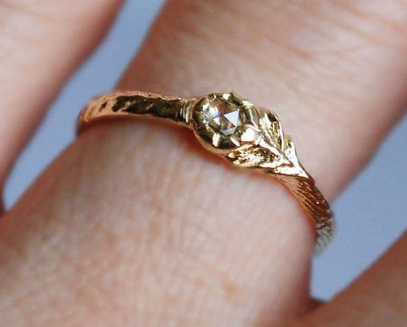 For Suzanne-Yellow Gold with Chakri Diamond Tiny Flower Ring-Payment #3 of 3