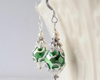 Emerald Green Wedding Jewelry Metallic Glass Bead Dangle Earrings  Bright Green  Bridesmaid Earrings in Silver Filigree Sterling Earwires