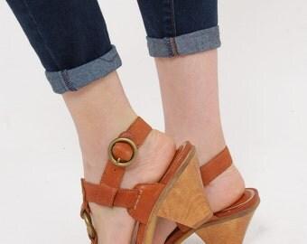 Vintage 90s FRYE Sandals BOHO Leather Sandals Size 6 Frye SLINGBACK Sandals Shoes