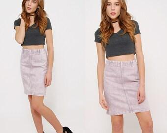 Vintage 80s Acid Wash Mini Skirt LAVENDER Denim PENCIL Skirt HIPSTER Skirt Body Con Skirt Jean Skirt
