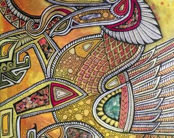Original Dragon Eclipse Tribal Myth Art by Lynnette Shelley