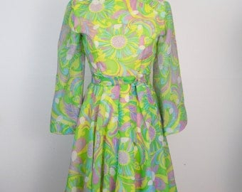 Vintage Pastel Paisley Angel Sleeve Floral Mini Dress Size Small | Vintage 1960s 70s • Psychedelic Mod Bell Fit & Flare