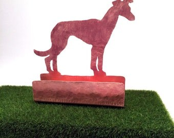 Greyhound Business Card Holder, Copper Desk Accessory, Grayhound  gift for dog lover, Grey Hound items, dog gifts