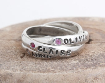 Birthstone Ring with Names on Each Band. Gift for Mom of Three. Personalized Intertwined Band Rolling Ring in Sterling Silver