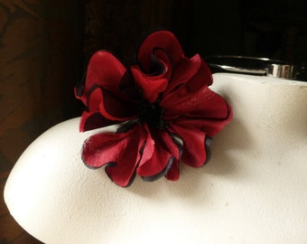 Red & Black Poppy SMALL Silk Flower for  Bridal, Corsages, Hats, Costumes MF