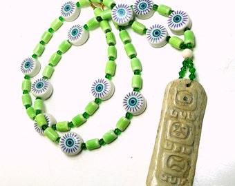 Papua New Guinea Carved Bone Pendant Necklace, w Porcelain and Glass Beads,  OOAK by Rachelle Starr