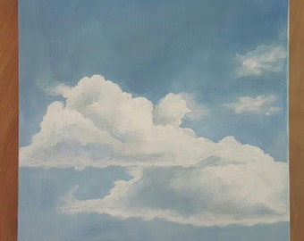 Original Acrylic Painting of Clouds in a Blue Sky on Canvas
