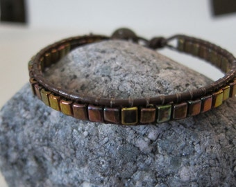 Wrap Leather Bracelet with Metallic Brown Cube Beads