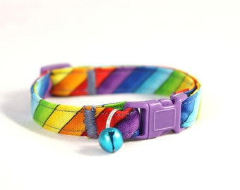 Rainbow Stripe Cat Collar with Any Color Bell or Charm