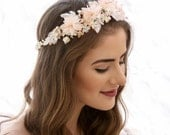 Peach Flower Crown made from Vintage Flowers Floral Headband Bridesmaids Hair Accessory Flower Girl Halo Boho Music Festival flower crown