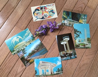 Set of 6 vintage 1964 New York World's Fair postcards - Observation Towers, exhibits - unused