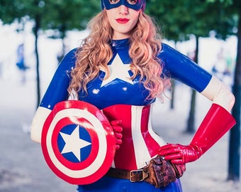 Lady Lucie Latex Captain America Cosplay Costume Catsuit + Corset + Gauntlets