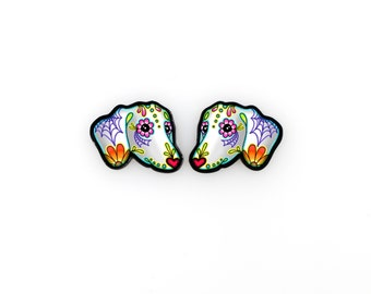 Dachshund Earrings - Day of the Dead Sugar Skull Wiener Dog Post Earrings
