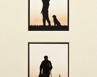 Shooting Hand-Cut Papercuts (pair)