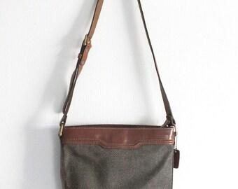 Eighties Leather Faux Leather Shoulder Brown Handbag - Shoulder Bag Purse - Print Chevron Bag - Vintage 80s Ladies Fashion Accessory