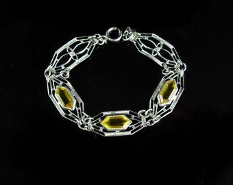 Antique Art Deco Bracelet golden Citrine Filigree  silver jewelry  13th 17th anniversary November gemstone sagittarius scorpio