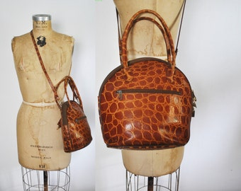 Brown Leather Bag Purse / faux Alligator