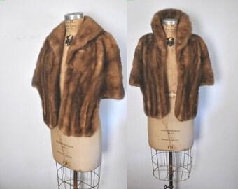 Mink Fur Stole Cape / 1950s brown shawl