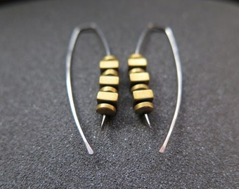 gold and silver earrings in hypoallergenic niobium. sensitive earrings. Canadian seller.