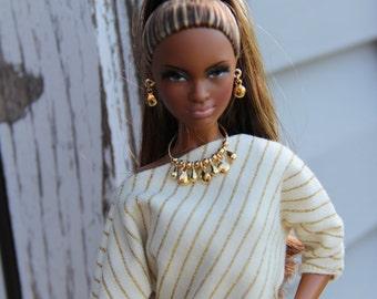 Gold Disc & Teardrop Necklace Charm Bracelet Earrings Doll Jewelry Set fits Fashion Dolls 1/6th Scale 11 1/2 - 12 inch dolls