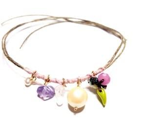 Cute coachella pink woven hemp beaded wish friendship bracelet quartz pearls glass beads chan luu inspired