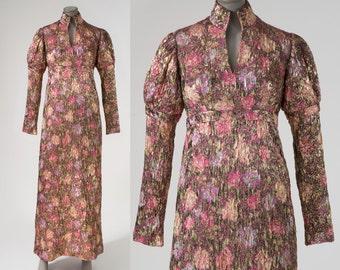 Vintage 1960s Gold Metallic Floral Gown, 60s Renaissance Style Gold Metallic Brocade Maxi Dress, Empire Waist Evening Gown, 60s Evening Gown