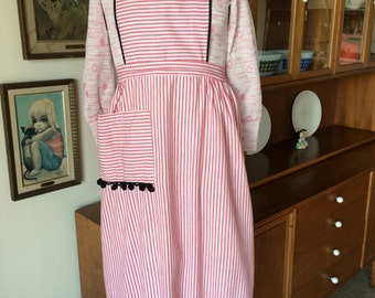 Wonderful Vintage Maxi Apron Red and White Stripe with Black Pom Pom Fringe Trim 60's 70's