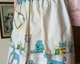 Wonderful Vintage French Poodle Apron with City Street Scene 60's 70's Fabric