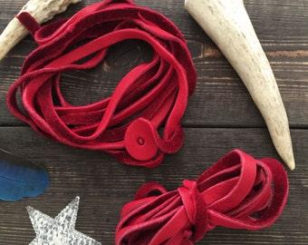 6mm Deep Red Deer Suede Leather Strap / Deer Suede Lace, Deerskin, 6 feet (2 meter strap), 1 long strap, Deer hide, Buckskin, Soft Suede