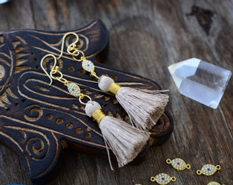 "Gold Protection: Crystal Evil Eye & Tassel Earrings, 24K Gold Plated Findings, 3 1/4"" length / Handmade Modern Jewelry, Gifts"