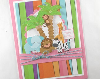 Birthday cards, safari birthday cards, 1st birthday, first birthday, girls birthday card, kids birthday cards, children's birthday cards