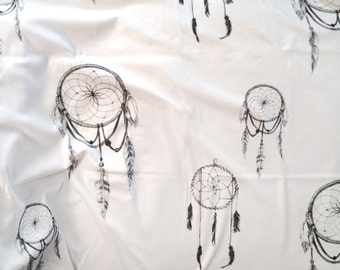 Dreamcatcher Print Fabric // Organic Cotton, Minky, Jersey or Linen-Cotton Canvas