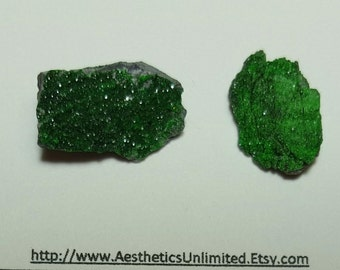 Sale 2 UVAROVITE GARNET Bright Green Natural Druzy Crystal Mineral Specimens From Ural Mountains Russia Sale